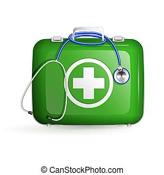 first aid box with stethoscope on white background - first...