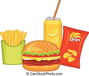 Fast food. Hamburger, orange drink, potato chips and french...