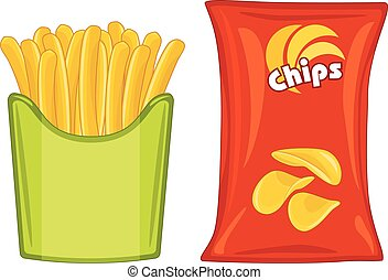 Potato chips and french fries. Vector illustration