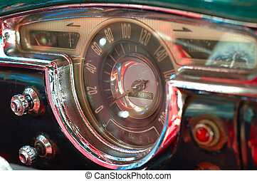 Vintage car interior deck in havana, cuba. - Detail of...