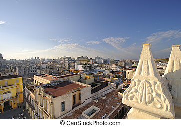 Old Havana cityscape - Old Havana skyline from vintage...