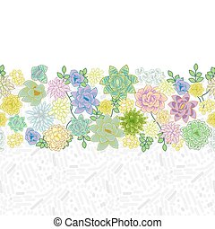 Succulent garden border card design. Horizontal border in...