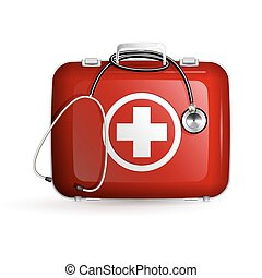 first aid box with stethoscope on white background