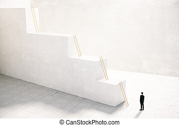 Career concept with businessman and stairs, 3D Rendering