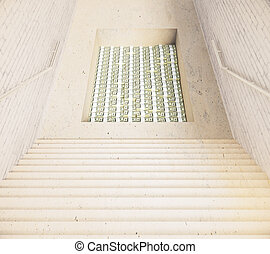 Stairs and hole with money