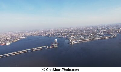 Aerial view from helicopter fly above river Height Megapolis...