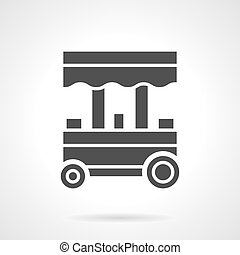 Trade trolley glyph style vector icon - Street trade trolley...