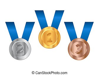 Competition Medals Gold Silver Bronze