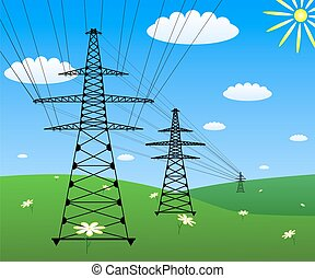 Power line on a green field. Vector