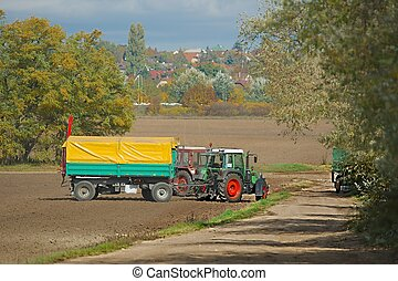 Tractor on the agricultural fields