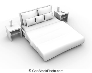 Bed - 3D rendered Illustration