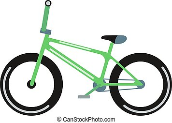 Green bicycle isolated vector illustration - Green bicycle...