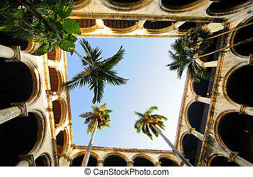 Colonial building interior in Old Havana - Courtyard in...