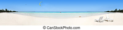 Tropical beach panorama - Panoramic view of tropical beach...