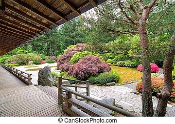 Japanese Garden from the Veranda - Japanese Flat Garden View...