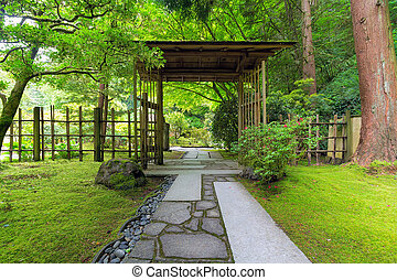 Covered Gate at Japanese Garden in Springtime