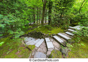 Stone Stair Steps at Japanese Garden - Granite stone stair...