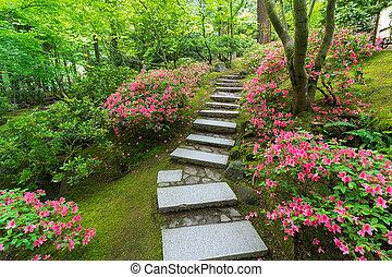 Azaleas in Bloom along Japanese Stone Stairs - Azaleas in...