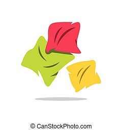 Vector Pillows Cartoon Illustration. - Three Colored...