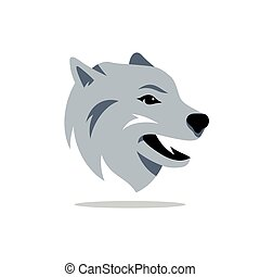 Vector Husky Dog Cartoon Illustration. - Muzzle of the...
