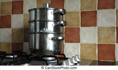 3 tier steamer - Cooking family dinner in three tier steamer...