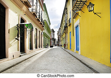 Empty old Havana street - Empty Old Havana street with...