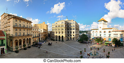 Panoramic view of Old Havana plaza and fountain NOV 2008 -...
