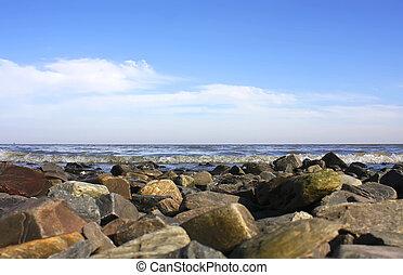 Gravel coast in Colonia del Sacramento, Uruguay, South...