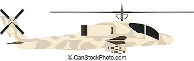 Military helicopter UH-60 hawk flat render air...