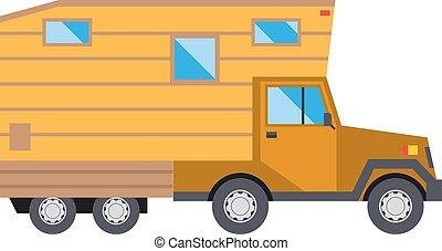 Family traveler truck summer trip concept caravan car house vector.
