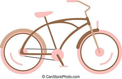 Stylish womens pink bicycle isolated on white background...