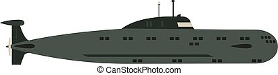 Isolated military submarine old army sea ship transport...
