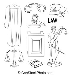 Law icons set. - Law icons set- Lawbook, court building,...