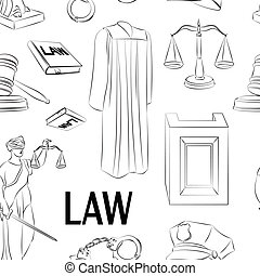 Law hand drawn pattern. - Law hand drawn pattern- Lawbook,...