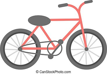 Red bicycle isolated vector illustration - Red bicycle...