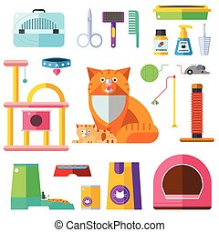 Cat accessory vector icons - Colorful cat accessory and cute...