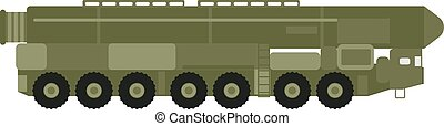 Military rocket launcher vector illustration. Truck rocket...