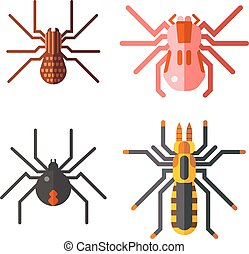Spiders isolated vector icons set - European spiders,...