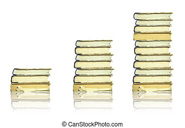 Books stacks isolated on white