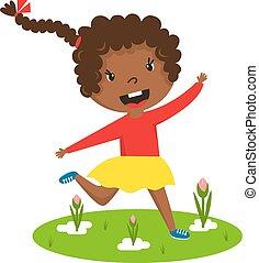 Afro girl running vector illustration. - Cute running black...