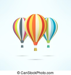 Colorful hot air balloons isolated on white. Discovery and...