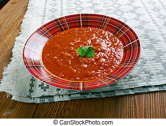 Lithuanian tomato soup with buckwheat