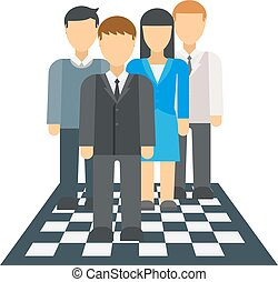 People on chessboard vector illustration. - Corporate...