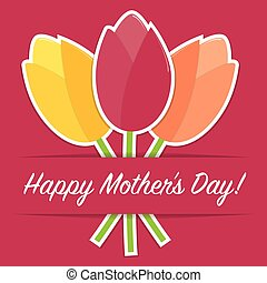 Tulip Mother's Day card in vector format.