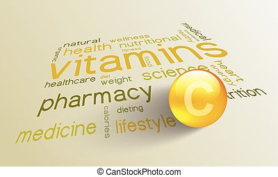 Vitamin C element for a healthy life in the word cloud