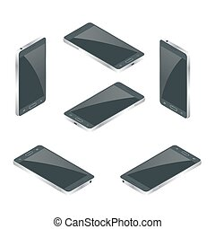 Smart Phone Isolated. Mobile phone flat 3d vector isometric illustration.
