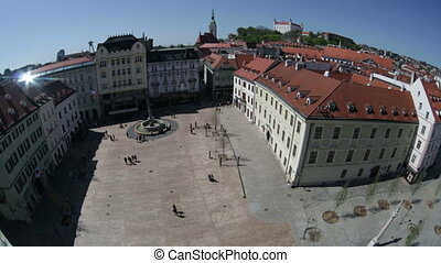 Top view on the main square. Bratislava