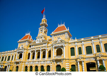 French style of building in Vietnam, Asia. Beautiful Ho Chi...