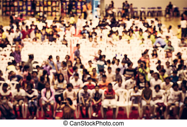 Blurred crowd of childre in the hall - Blurred crowd of...
