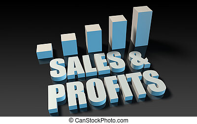 Sales and profits graph chart in 3d on blue and black